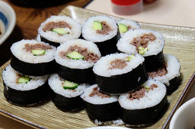 きゅうりと牛肉の巻き寿司