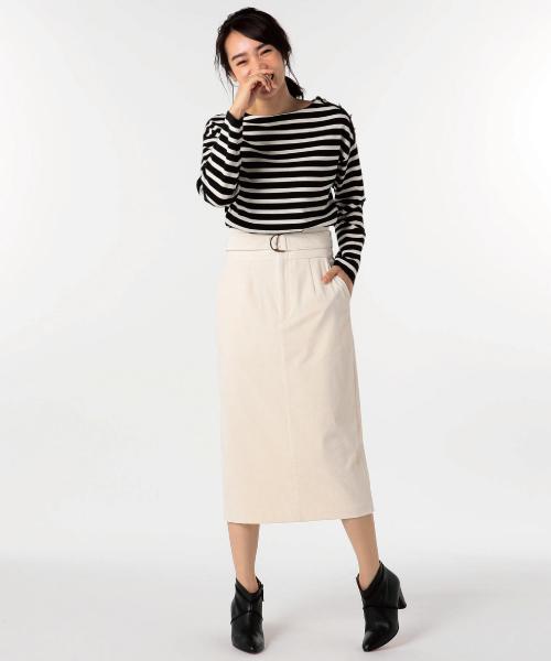 [NOLLEY'S] シャンブレーコールベルト付タイトスカート