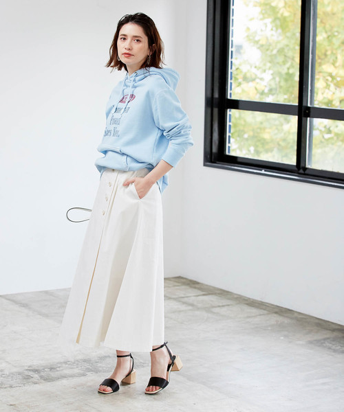 [ROPE'] ストレッチチノロングフレアスカート