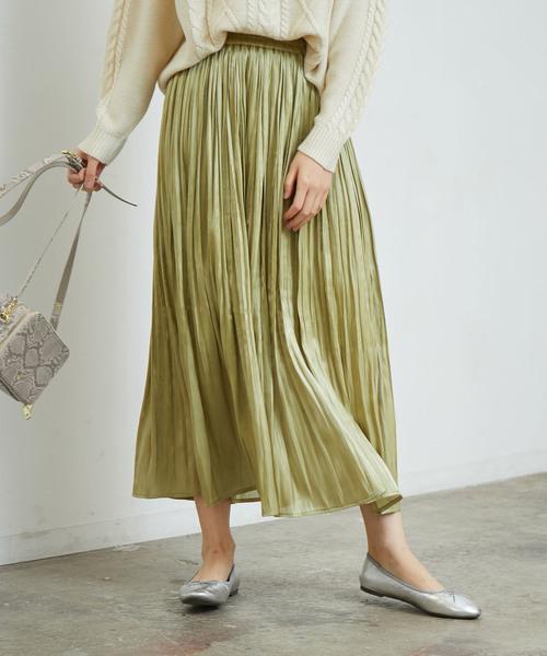 [ROPE' PICNIC] 【WEB限定カラー:ネイビー】シャイニープリーツスカート