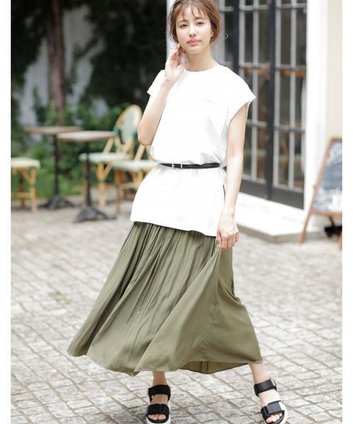 [INGNI] ヴィンテージサテンギャザースカート