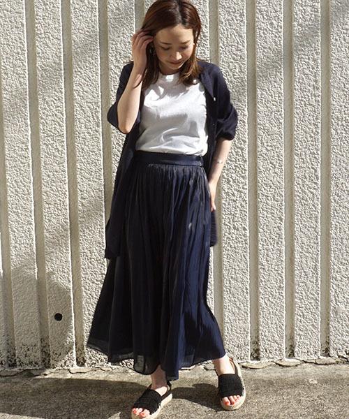 [STYLE AVENUE] 割繊シャイニーサテンギャザースカート【大きいサイズ対応】2