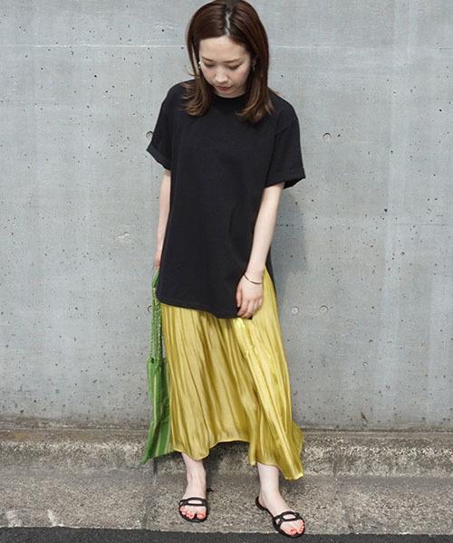 [STYLE AVENUE] 割繊シャイニーサテンギャザースカート【大きいサイズ対応】