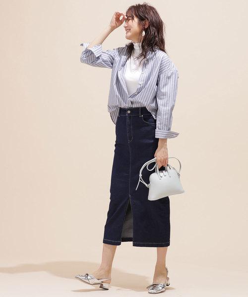 [nano・universe] I-line slim fit denim skirt