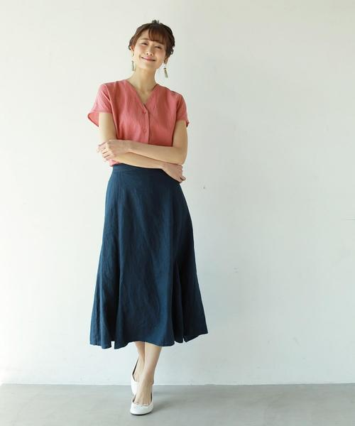 [coen] フレンチリネンフレアスカート