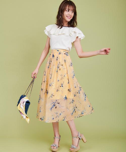 [31 Sons de mode] スパンオーガンジー花柄ロングスカート