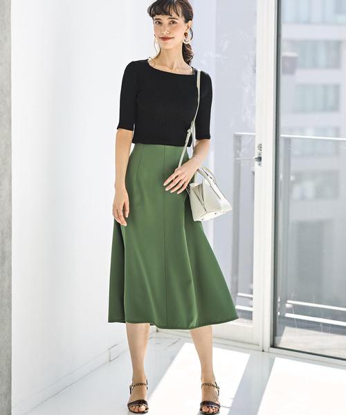 [green label relaxing] CS ハイウエスト フレア スカート