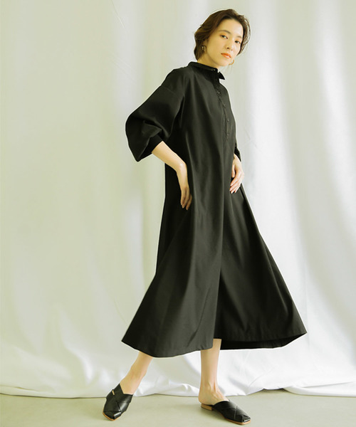 [select MOCA] ちび衿パフスリーブAラインシャツワンピース