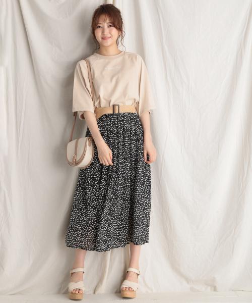 [Heather] シフォンプリーツロングスカート