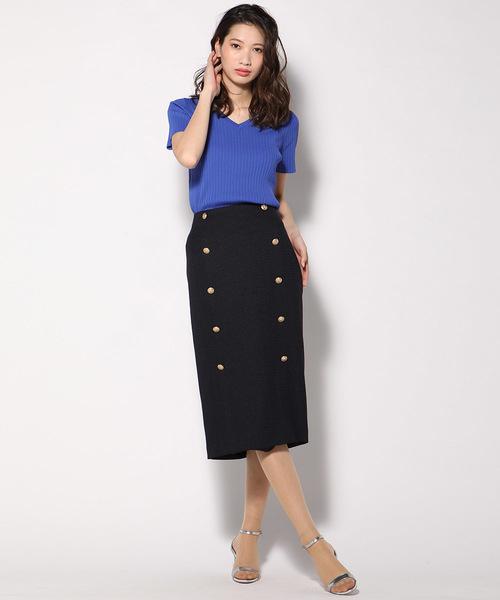 [VICKY] ツイードボタン使いタイトスカート