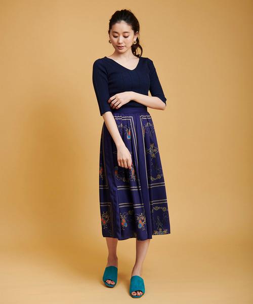 [The Virgnia] パネルスカーフ柄スカート