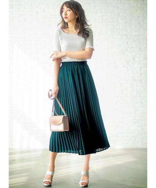 [GeeRA] 【19夏新着】ウエストゴムプリーツロングスカート