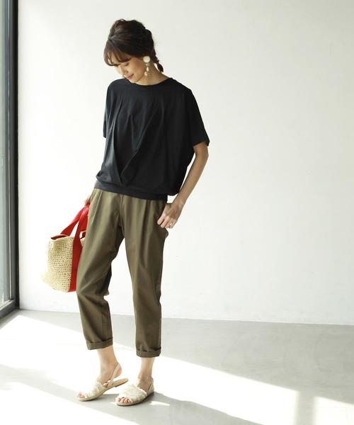 [coen] 綿麻テーパード8分丈パンツ