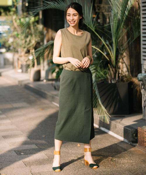[Munich] ドライタッチオックスラップスタイルタイトスカート