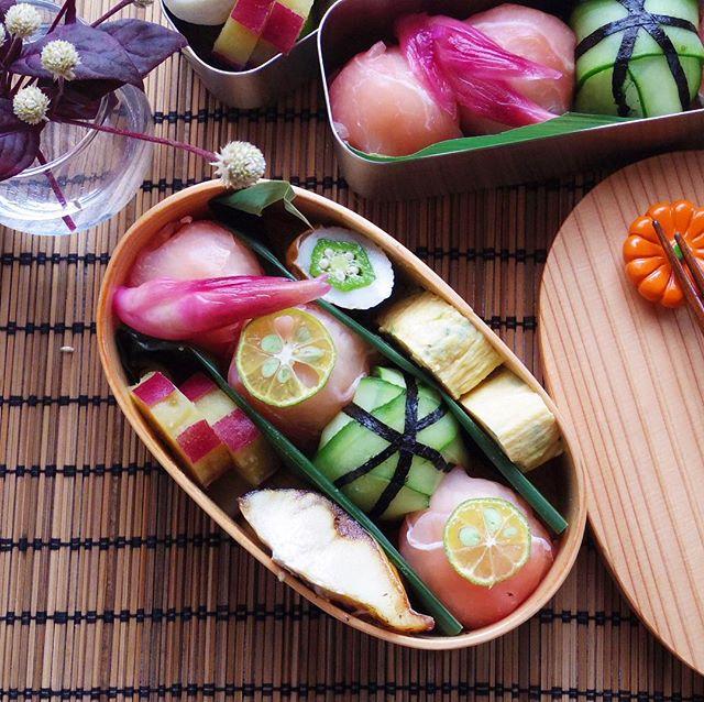 生ハムときゅうりの手毬寿司のお弁当