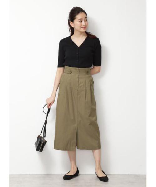 [NATURAL BEAUTY BASIC] [洗える/接触冷感]ハイウエストナロースカート