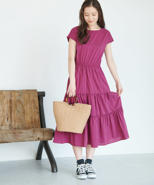 [ROPE' PICNIC] バックリボンティアードワンピース