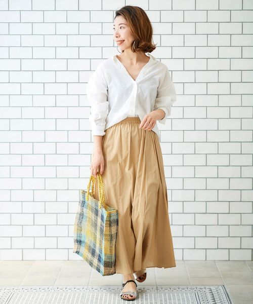 [le.coeur blanc] コットンボイルサイドフレアマキシスカート
