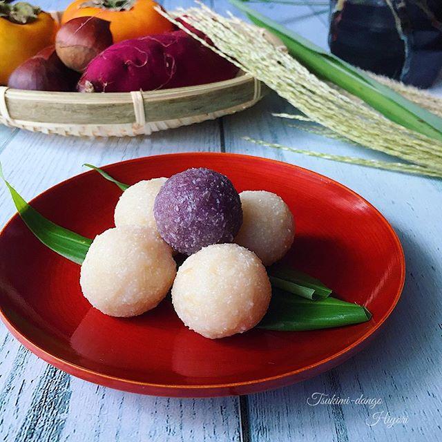 紫芋で作る月見団子