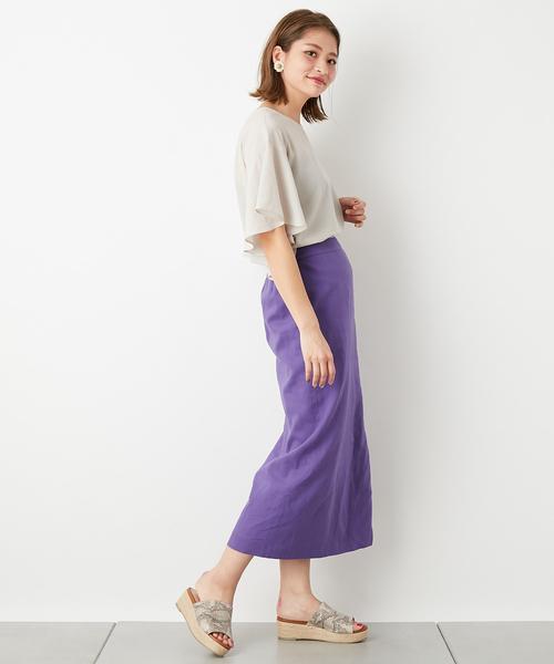 ライトグレーブラウス×パープルタイトスカート