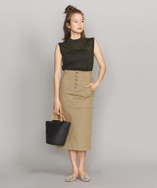 [BEAUTY&YOUTH UNITED ARROWS] BY ギャバフロントボタンタイトスカート