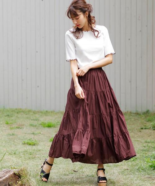 [INGNI] コットンティアード/スカート
