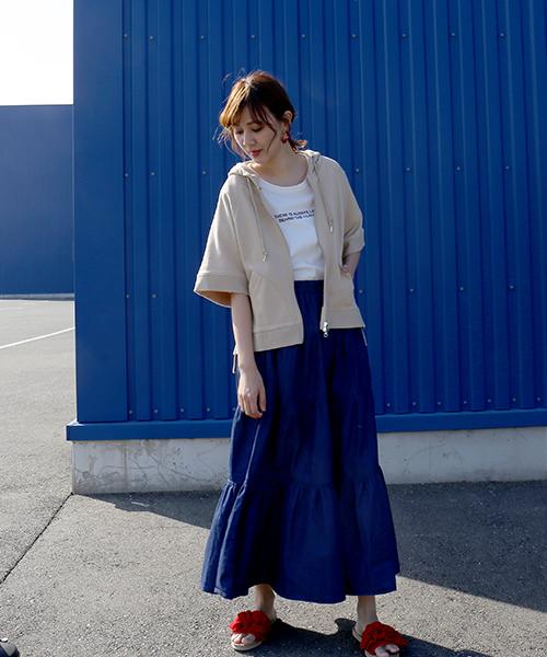 [MARLENE JOBERT] 【Web限定】コットン100%☆羽織って嬉しい半袖パーカー