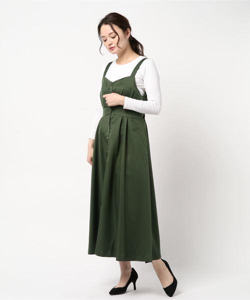 [Green Parks] ・RAYCASSIN 前開きジャンパースカート