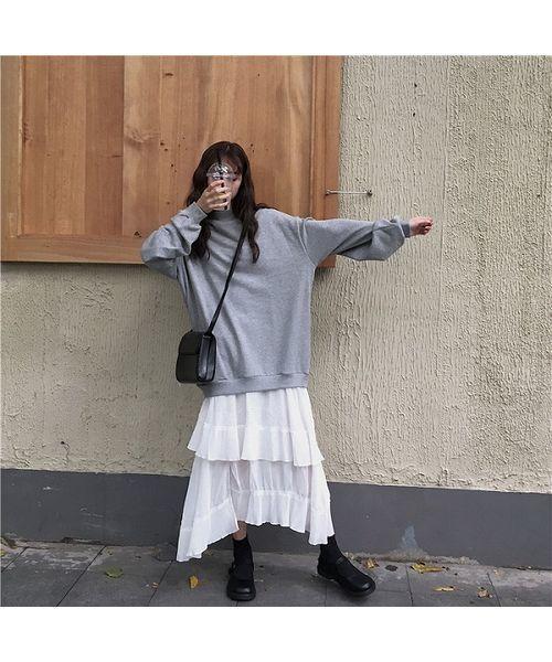 [chuclla/WESTBOY] 【chuclla】チュール カットソー ロング丈 ワンピース