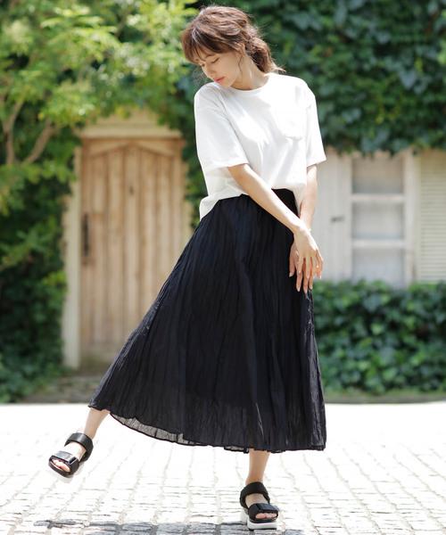 [INGNI] コットンワッシャーロング/スカート