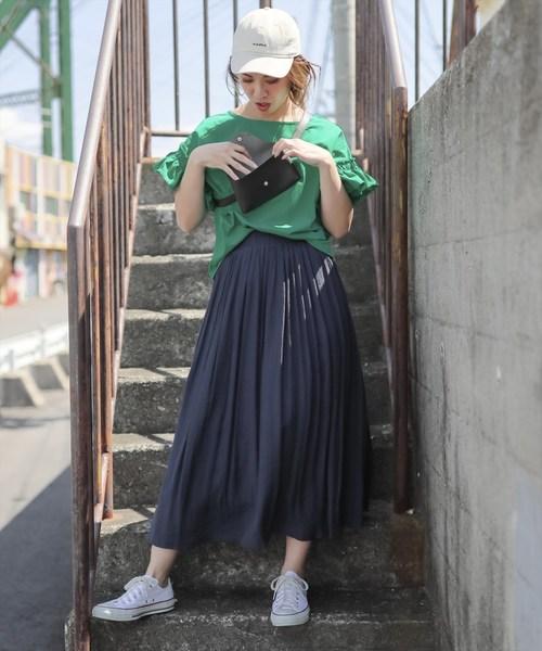 [clear] スラブギャザーロングスカート