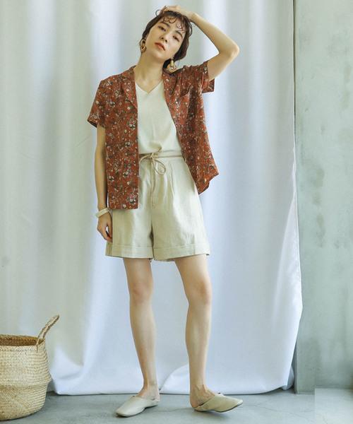 [select MOCA] ヴィンテージ花柄アロハシャツ/オープンカラーフロントボタンサイドスリット半袖ブラウス