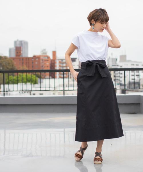 [coen] ストレッチチノウエストリボンフレアスカート