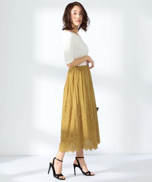 [BEAMS WOMEN] BEAMS LIGHTS / 手洗い可能 スカラップ カットワーク スカート