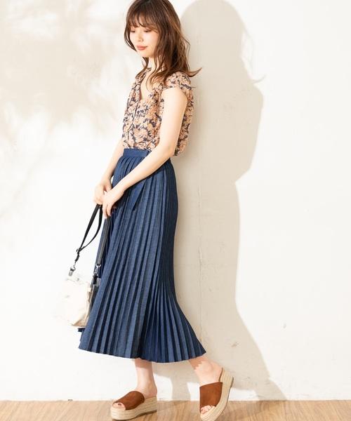 [natural couture] デニムプリーツスカート