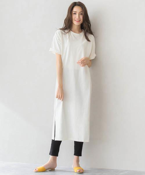[Pierrot] スリット ロングTシャツ