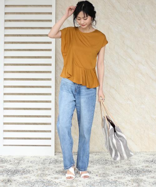 [Bou Jeloud] 【WEB限定】アシンメトリーフリルTシャツ