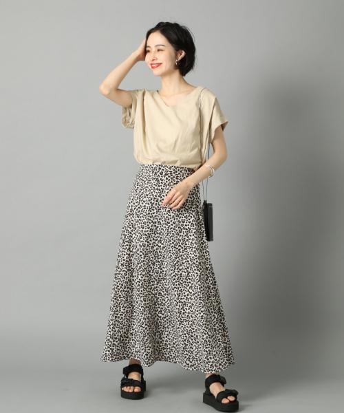 [LOWRYS FARM] レオパードAラインスカート 840443