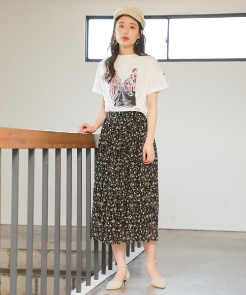 [mysty woman] シフォンフラワープリーツスカート 840914