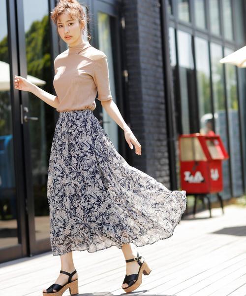 [INGNI] ペイズリー柄ギャザースカート