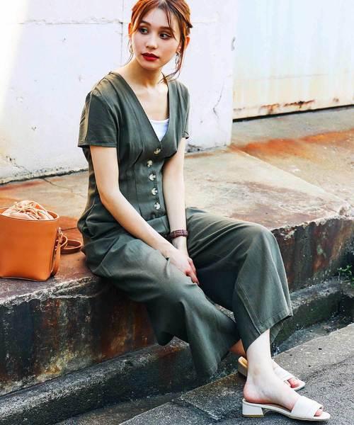 [Fashion Letter] 綿麻レーヨンフロントボタン 半袖ジャンプスーツ