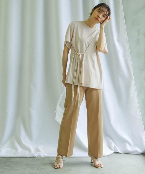[select MOCA] サイドロープデザインTシャツ/ラウンドネック裾アシンメトリーウエスト紐コットンTee