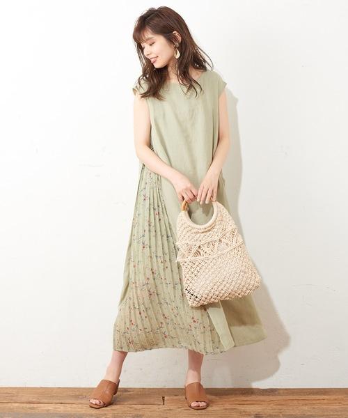 [natural couture] サイドプリーツおしゃれAラインワンピース