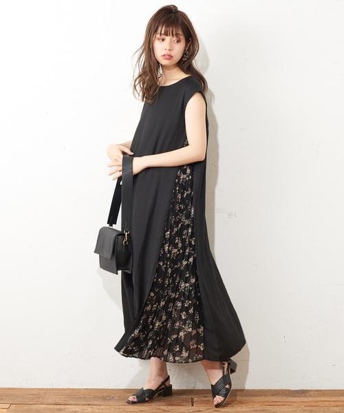[natural couture] サイドプリーツおしゃれAラインワンピース2