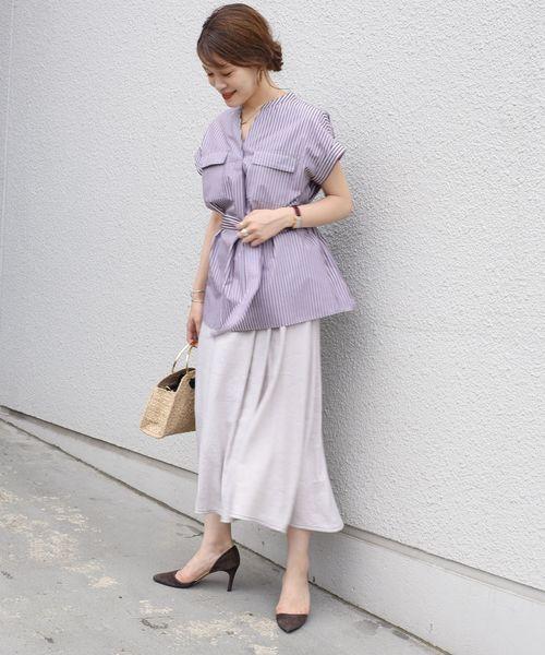 [SHIPS for women] 【手洗い可能】ステッチデザインフレアスカート◇