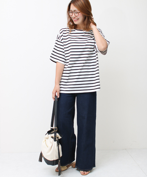 [Social GIRL] エンブロイダリーsmileバック刺繍ロゴオーバーサイズビッグシルエットルーズTシャツ