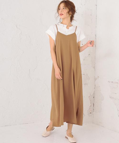 [DONOBAN] ■2点セット■ ワッフルTシャツ&キャミソールワンピースセット