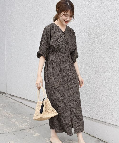 [SHIPS for women] TORRAZZO DONNA:フラワープリント ボタンワンピース