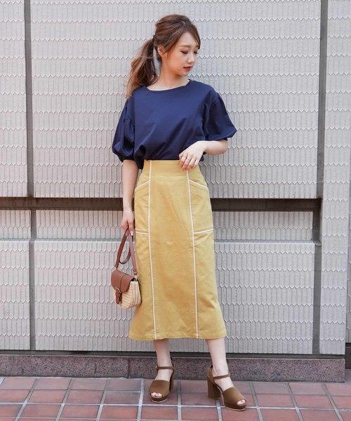 [FREE'S MART] ◆パイピングIラインロングスカート