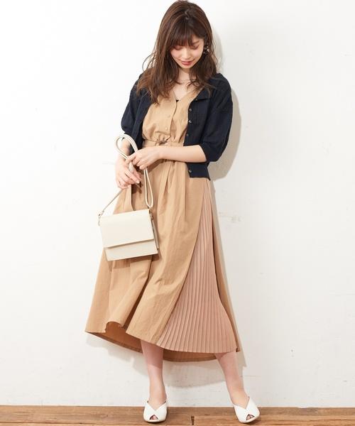 [natural couture] パッチワーク透かしショートカーディガン